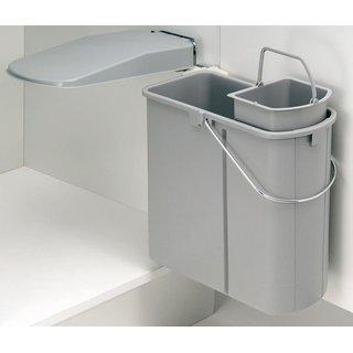 Wesco 700451-85 Einbau-Abfalleimer DT, 19 Liter (14 Liter + 5 Liter  Bioeimer), alugrau